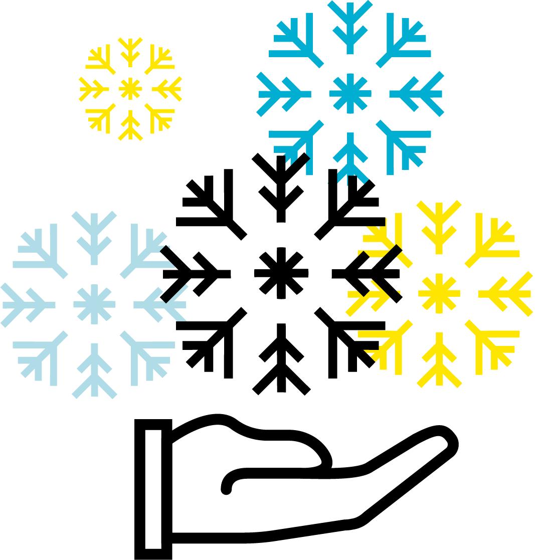 Picto mains campagne Noël flocons CREA Mont-Blanc