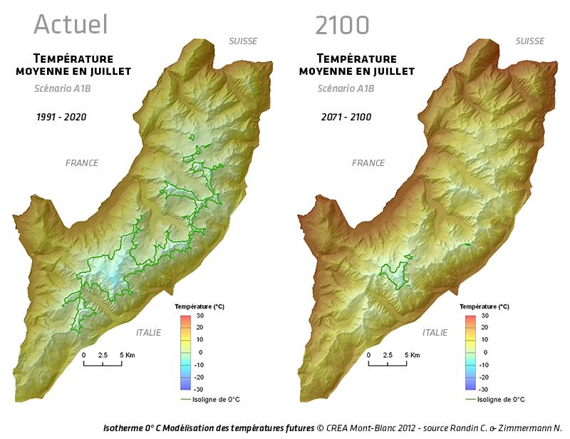 Isotherme 0° C Modélisation des températures futures © CREA Mont-Blanc