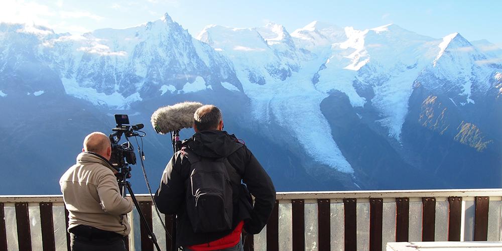 Tournage à Planpraz face au Mont-Blanc © CREA Mont-Blanc